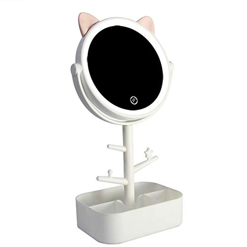 Schattige kattenorvormige make-upspiegel met ledlampjes, USB-kabel of op batterijen werkende verlichte make-upspiegel. wit