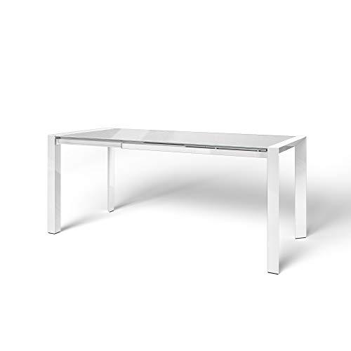 Tavolo da Pranzo in Vetro Allungabile Harlem Soggiorno Salotto Ufficio Cucina in Vetro Temperato con Gambe in Metallo Design Moderno Elegante Minimal 122 x 80 x 76 cm Colore (Bianco)