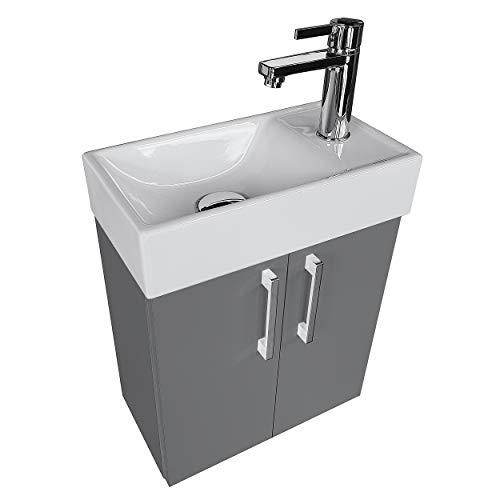 paplinskimoebel Waschplatz Waschbecken mit Unterschrank Badmöbel Set Waschtisch 40x22 Links/Rechts (Graphit) Waschtischunterschrank Keramikwaschbecken
