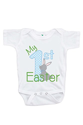 7 ate 9 Apparel Unisex Baby's Novelty My First Easter Onepiece 3-6 Months Blue and Green