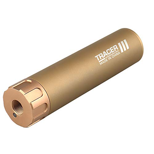 WoSporT 2 in 1 Mini Tracer Unit Silencer Lighter Ⅲ Tactical Airsoft Paintball Noise Reducer Suppressor Automatic Guns Pistol Light BBS Glow in Dark for 14mm CCW Thread M14 (TAN, 6.3 inch)
