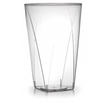 40er Set Partygläser, Hartplastikbecher, kristallklare Plastikbecher, elegant mit quadratischem Boden, wiederverwendbares Plastikgeschirr – 280 ml (10 oz)