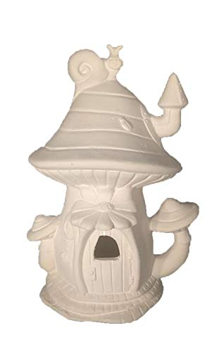 "Mushroom Snail Shack Fairy House 8"" x 5"" Ceramic Bisque, Ready to Paint"