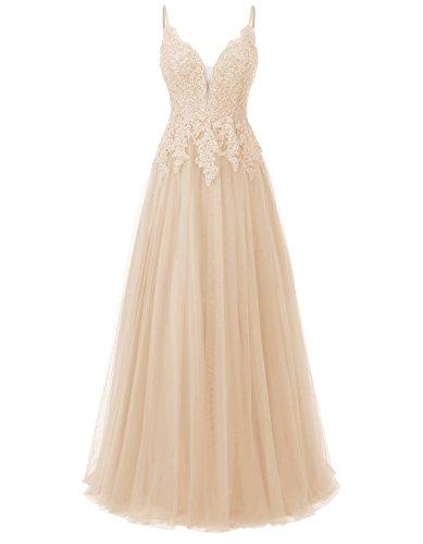 Carnivalprom Damen Spitze Abendkleider Für Hochzeit Elegant Brautkleid Spaghetti-Träger Ballkleider(Champagner,32)