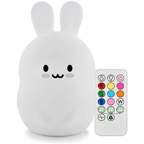 Baby Night Light, Tekemai Lampada da comodino in silicone morbido Safe 9 colori con telecomando, Lampada LED multicolore ricaricabile per bambini Camera da letto/regalo per bambini (Miffy Coniglio)
