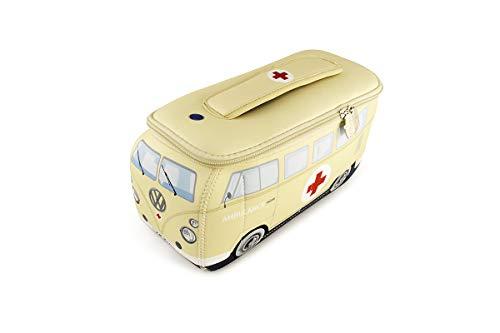 BRISA VW Collection - Volkswagen Combi Bus T1 Camper Van 3D Trousse de Maquillage, Sac à cosmétiques/de Culture, Nécessaire de Toilette, Étui à Crayons, Porte-Crayon, Universel (Ambulance/Beige)