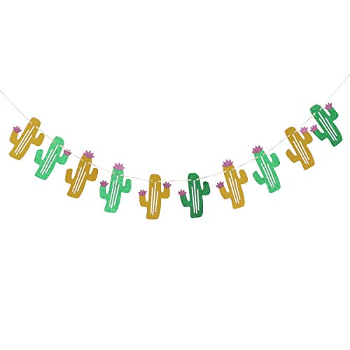 Amosfun Cactus Garland Cactus Party Banner Hawaiian Tropical Party Garland Cactus Glitter Banner Hawaiian Bunting Banner Hanging Decoration Luau Hawaiian Party Supplies
