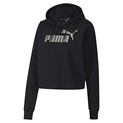 PUMA Ess+ Metallic Cropped Hoody TR Felpa con Cappuccio, Donna, Nero, S