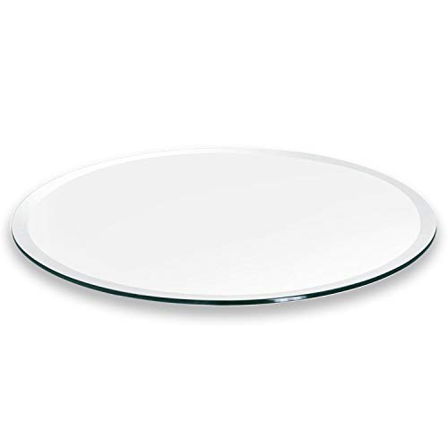 """Better Bevel 12"""" Round 1/4"""" Thick Glass Table Top 