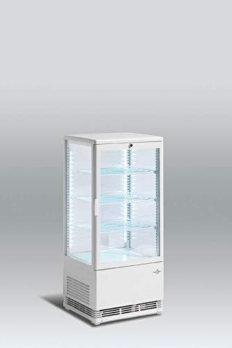 Vitrina Expositora refrigerada 4 caras cristal Pastelería Scandomestic RT79 78L Rejillas panel de control Led, Luz interior vertical.