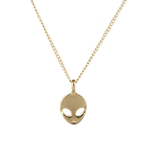 YOOE Hollowing Face Eye Emoticon Alien Pendant Necklace,UFO ET Science Fiction Cartoon Head Portrait Necklace for Women Girls Birthday Gifts (Gold)