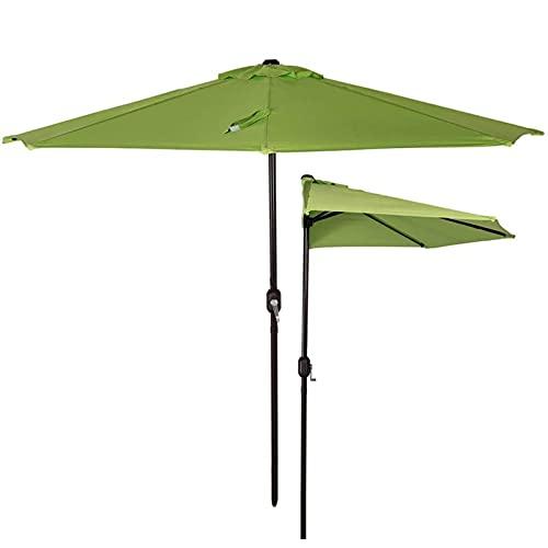 HPPOPE Media sombrilla para Patio Exterior de 2,7 m * 1,4 m, Parasol semicircular para Exterior con manivela, para Patio con terraza y jardín al Aire Libre, Poste de Ø 38 mm (Verde)
