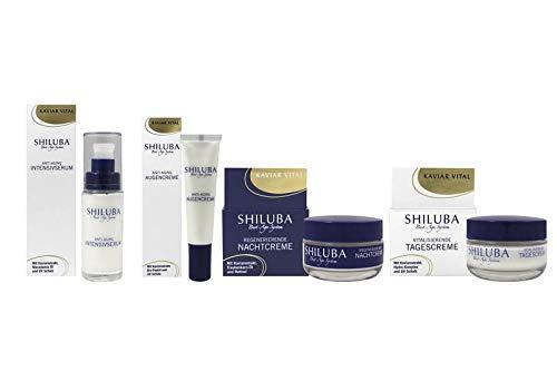 SHILUBA Best-Age-System Kaviar Vital - 4 tlg. Hautpflegeset: Straffende Augencreme 15 ml + Straffendes Intensivserum 30 ml + Vitalisierende Tagescreme 50 ml + Regenerierende Nachtcreme 50 ml