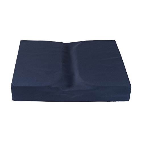 DMI Dual Cut Foam Coccyx Seat Cushion, Supportive Firm Foam for Chairs, Wheel Chairs and Office Chairs, 16 x 18 x 3 inches, Navy