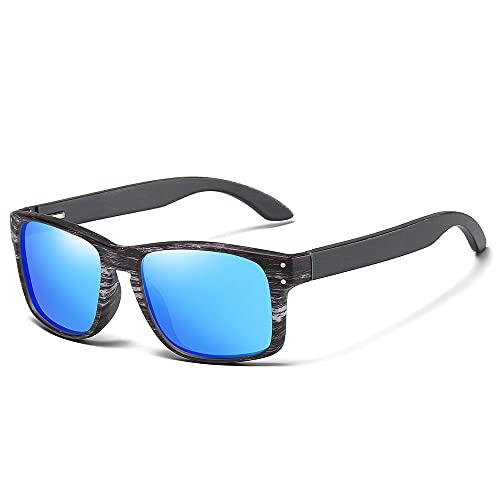 NIUBKLAS Gafas de sol de bambú Vintage para hombre, Retro, hecho a mano, de madera de bambú, espejo masculino, protección UV400, gafas de sol cuadradas de madera para mujer, azul
