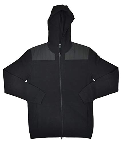 Theory Men's Bilen Dual Front Zip Maddox Hoodie Sweatshirt, Black (M)