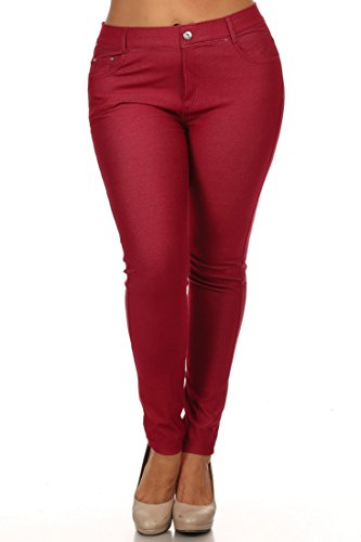 ICONOFLASH Women's Jeggings Pull On Slimming Cotton Jean Like Leggings (Burgundy, XL)