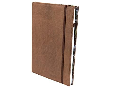 skaard Notizbuch Leder | dinA5 | Nachfüllbar | Gepunktetes Recyclingpapier | Vintage Ledereinband | Flower-Design | Tagebuch