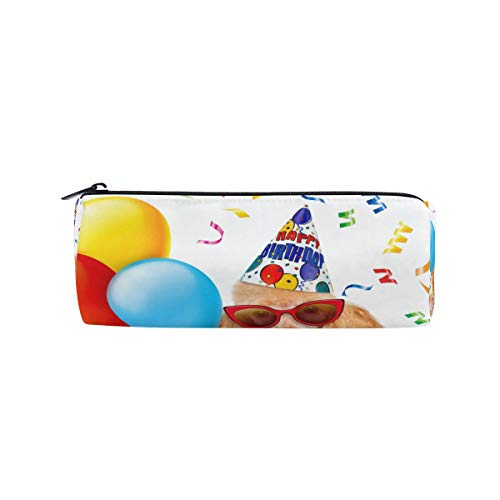 Pencil Bag Pen Case Pouch Cute Dog Birthday Balloons Cupcake Colorful Makeup Cosmetic Round for Girls Boys Travel School