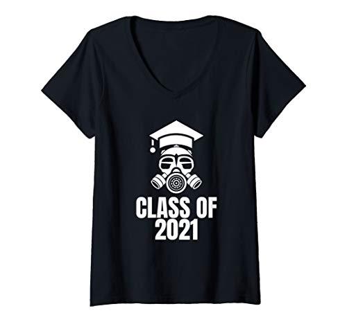 Damen Lustige Klasse von 2021 Gasmaske T-Shirt mit V-Ausschnitt