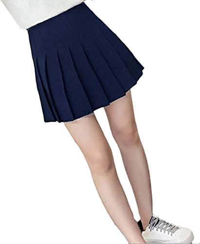 Women High Waisted Junior Slim Fit Check Solid Club Party Skater Skirts,2,Small