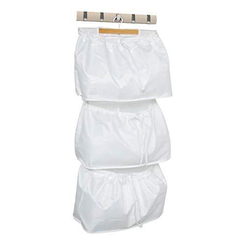 Bolsa para cesto de ropa para colgar en la puerta, cesto de lavandería de gran capacidad sobre la puerta con 3 bolsas desmontables, gancho y percha de acero inoxidable