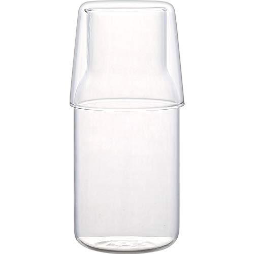Bedside Water Carafe Set with Tumbler Glass Set Mouthwash Bottle for Bathroom, Bedroom Nightstand, 19oz/550ml(Clear)