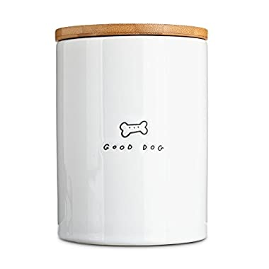 Harmony Good Dog Ceramic Dog Treat Jar, Large, White / Natural Wood