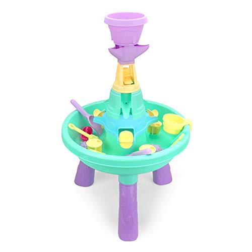 QiHaoHeji Juego de Mesa de Actividades al Aire Libre de Arena y Agua para niños con Variedad de Accesorios y Molino de Agua Incluido Mesa de Juego de Actividades en Interiores