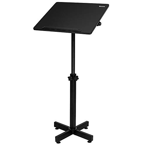 Bonnlo Classic Lectern Podium Stand, Height Adjustable Church Classroom Lecture, Portable Presentation Concert Podium, Multi-Function Reading or Laptop Desk with Edge Stopper, Black