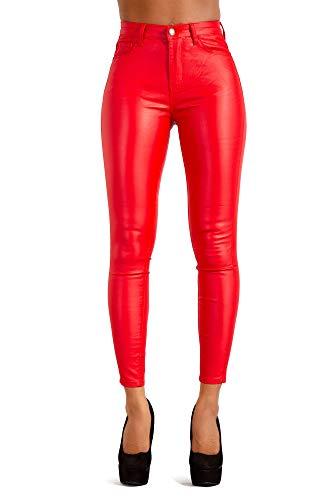 Glook Damen Kunstlederhose Skinny Bikerhose Leder Look Hohe Taille (36, Rot)