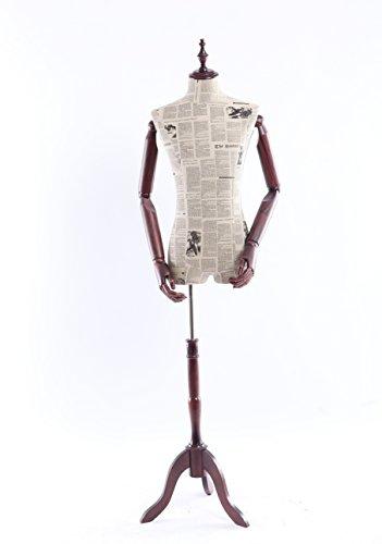 Eurotondisplay Schneiderpuppe, Zeitung Muster stoffbezogenen Oberkörper mit Deckel aus Holz,Arme und Finger aus Holz beliebig verstellbar, dunkler Holzstand (A-14-0 männlich)