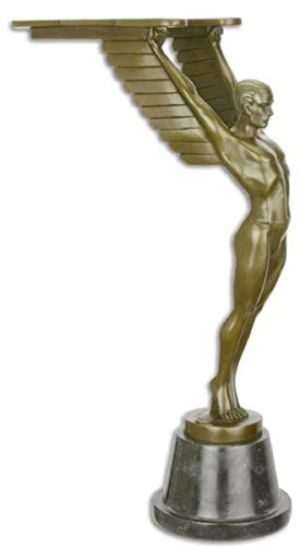 Casa Padrino Art Deco Bronze Skulptur Ikarus Bronze/Schwarz 13,2 x 24,8 x H. 42,2 cm Bronzefigur mit Marmorsockel - Dekofigur