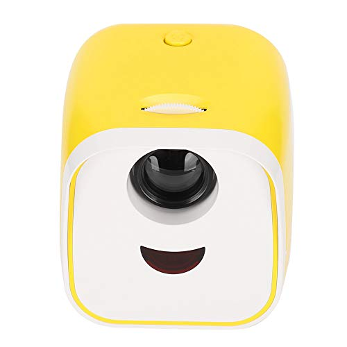 Tragbarer Videoprojektor & Beamer, Mini-Cube-Projektor mit einer Auflösung von 480 x 320 P und 2000 Lumen, kompatibel mit USB/Speicherkarte/HDMI/Mobiltelefon für Heimkino-/Bürokonferenzen(Yellow)