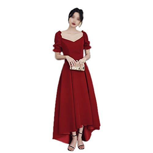 MYW vaste kleur met hoge taille zip lantaarn mouwen jurk vierkante kraag lange rok (maat: XS-4XL)