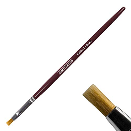 The Army Painter Flat Brush for Drybrushing Miniatures - Durable Toray Synthetic Bristle Brush - Miniature Paint Brush Drybrush - Hobby Brush Series, BR7015