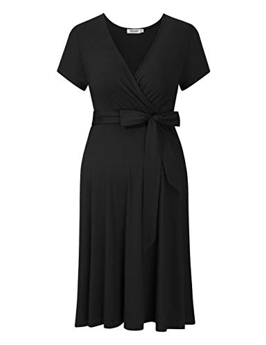 KOJOOIN Damen Umstandskleid Schwangerschafts Kleid für Schwangere Stillkleid V-Ausschnitt Langarm mit Taillengürtel Kurzarm schwarz XL