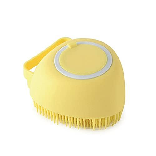 Cepillo de masaje de lavado de ducha de cuerpo de silicona con dispensador de gel de jabón de champú Cepillo de limpieza de cerdas suaves para baño de bebé (amarillo)