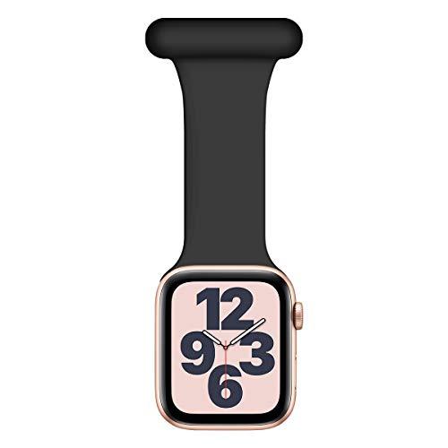 Wepro Kompatible mit Apple Watch Armband Fob 44mm 42mm, Infektionskontrolle Design Silikon für Krankenschwestern Hebammen Ärzte Sanitäter für iWatch Series SE/6/5/4/3/2/1, Schwarz