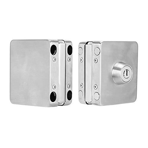 【𝐑𝐞𝐠𝐚𝐥𝐨】Entrada de seguridad confiable engrosada, cerradura cuadrada de hierro inoxidable 1007, aplicaciones de asistencia para puerta de vidrio sin marco Puerta de vidrio templado