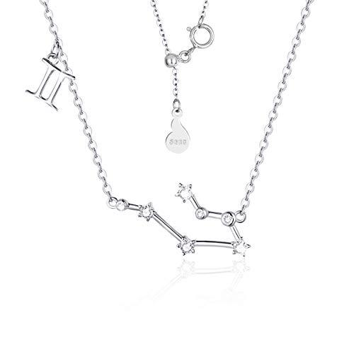 SIMPLGIRL Zwillinge Horoskop für Frauen Halskette 925 Sterling Silber Anhänger mit Sternzeichen Halskette mit Sternbild Halskette Geburtstagsgeschenk