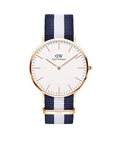 Daniel Wellington Classic Glasgow, Reloj Azul-Blanco/Oro Rosado, 40mm, NATO, para Hombre