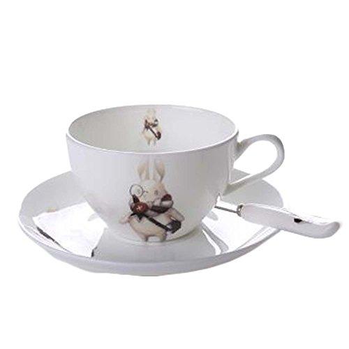 Lapin mignon cuillère / tasse de thé / soucoupe tasse de café en porcelaine blanche tasse à café 6.1