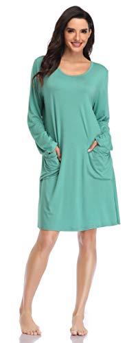 SHEKINI Donna Camicia da Notte in Modal Manica Lunga Pigiama T-Shirt Vestito Sciolto con Tasca(Verde,S)