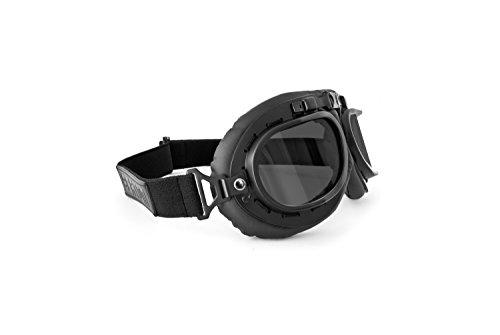 BERTONI Motorradbrillen Schutzbrillen vintage für Harley und Chopper - Schwarz Eco-Leder - mod. AF195 (Schwarzes Leder - Graue Linsen)