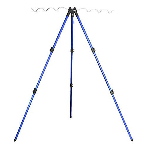 Leepesx Porta canne da Pesca con treppiede telescopico in Lega di Alluminio