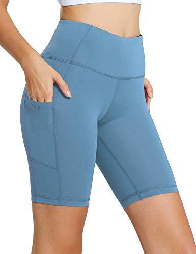 BALEAF Women's 8' High Waist Biker Workout Yoga Running Compression Exercise Shorts Side Pockets Niagara Size XXL