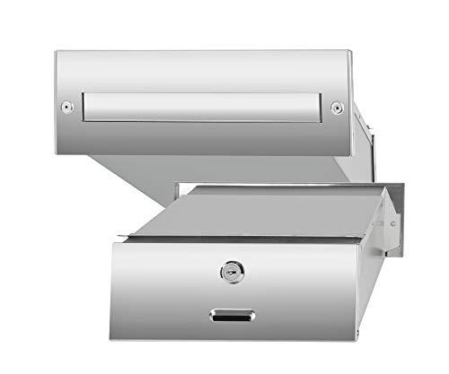 Mauerdurchwurf Briefkasten Edelstahlmit regulierbarer Tiefe 155 – 300 mm zum Einmauern Presse FlugblätternZylinderschlosswetterfeste Briefkastenanlage