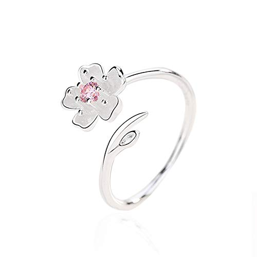 Rings Women Real 925 Sterling Silver Zircon Enamel Plum Flower Adjustable Ring Elegant Fine Romantic Party Bride Accessories Gift
