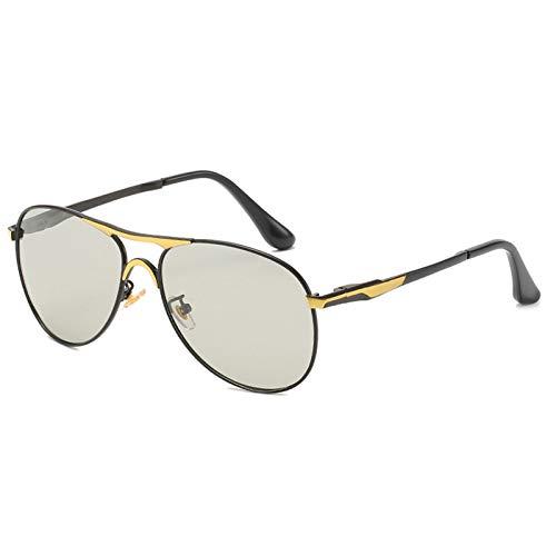 WWDKF Gafas De Sol Hombre, Gafas De Sol Polarizadas Que Cambian De Color De Día Y De Noche, Las Lentes Pueden Detectar La Intensidad Y La Decoloración De Los Rayos Ultravioleta,C